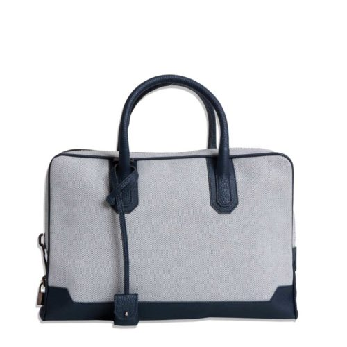 Slim Briefcase – Canvas & Taurillon Bleu Marine