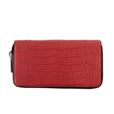 portefeuille long zippé alligator rouge