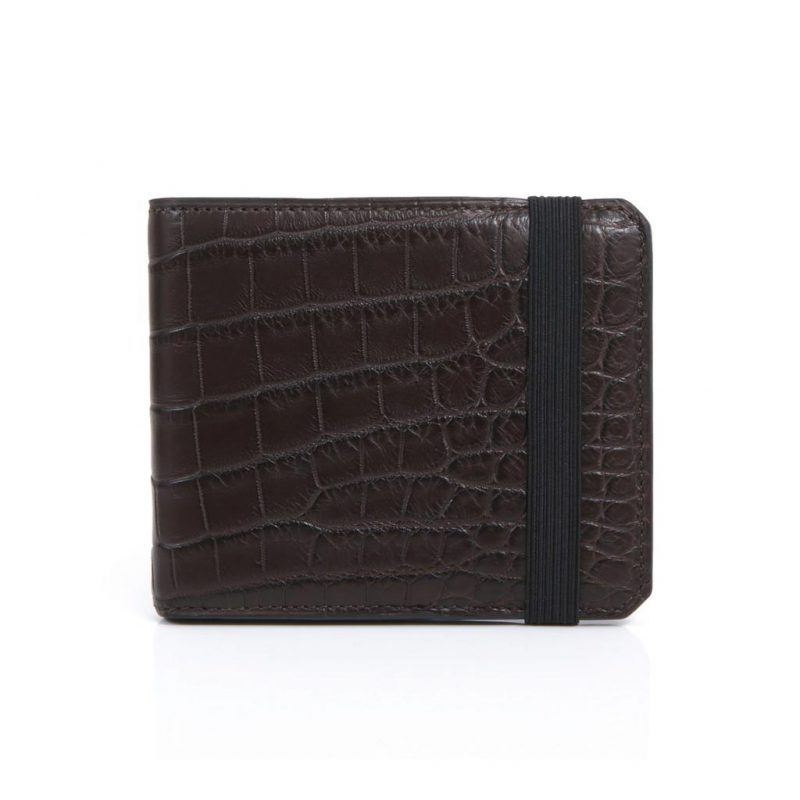Portefeuille 6cc alligator marron