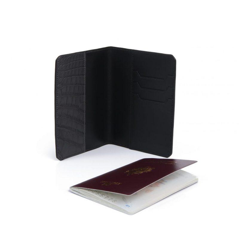 porte passeport alligator gris