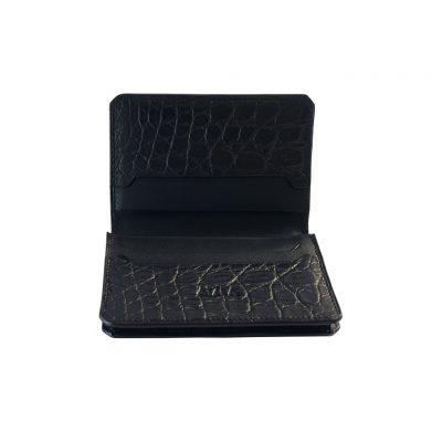 porte carte de visite alligator noir
