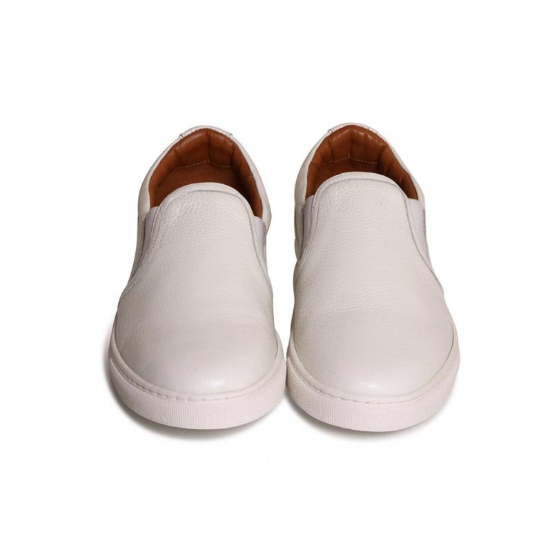 slip on taurillon blanc