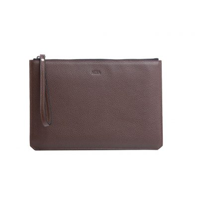 pochette taurillon marron