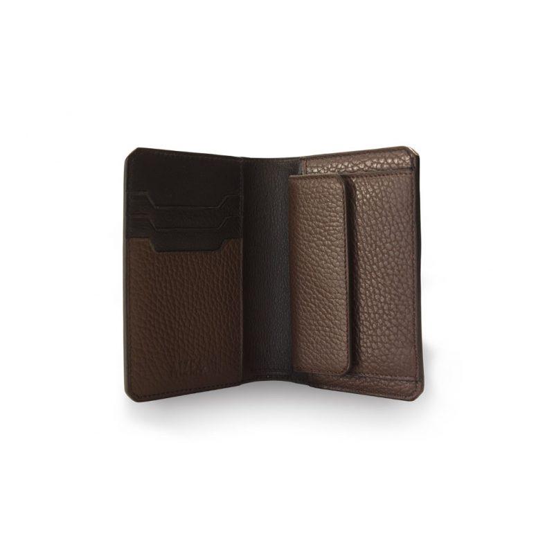 portefeuille compact taurillon marron