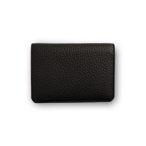 Portefeuille compact TIKIA avec porte-monnaie en Taurillon Noir
