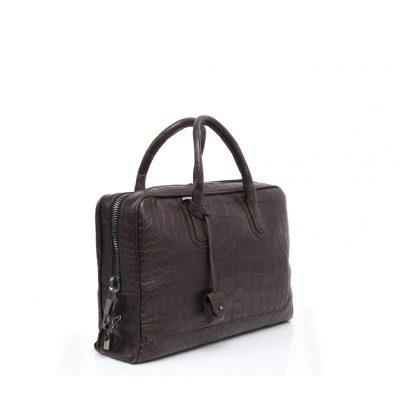 Slim briefcase alligator marron