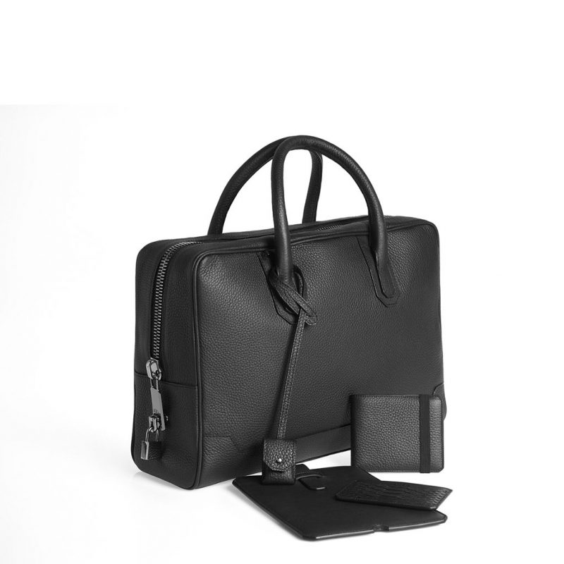 Slim briefcase taurillon noir