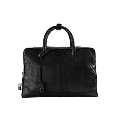 Slim briefcase python noir