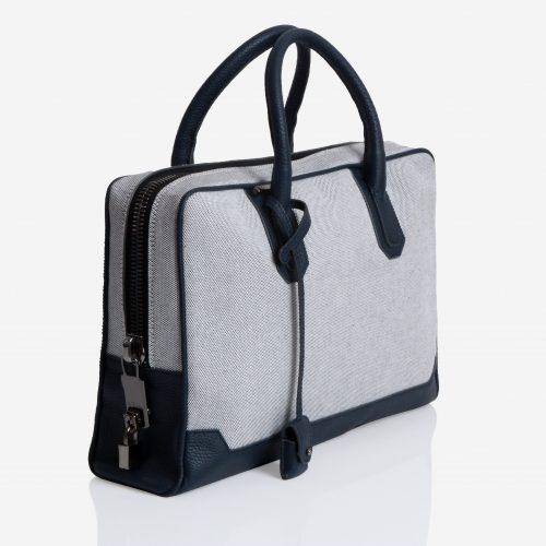 Slim Briefcase Canvas & Navy Blue Taurillon