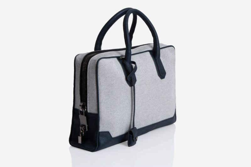 Slim Briefcase [Brif-kase] – Canvas & Taurillon Bleu Marine 2
