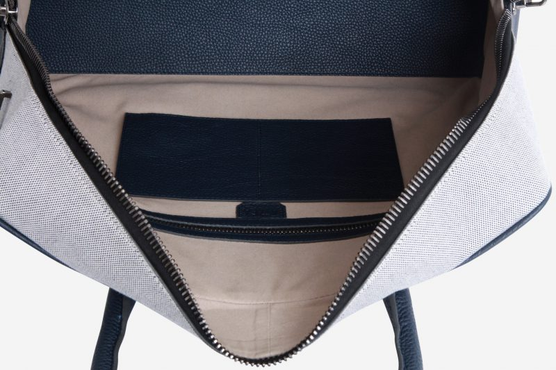 Slim Briefcase [Brif-kase] – Canvas & Taurillon Bleu Marine 3
