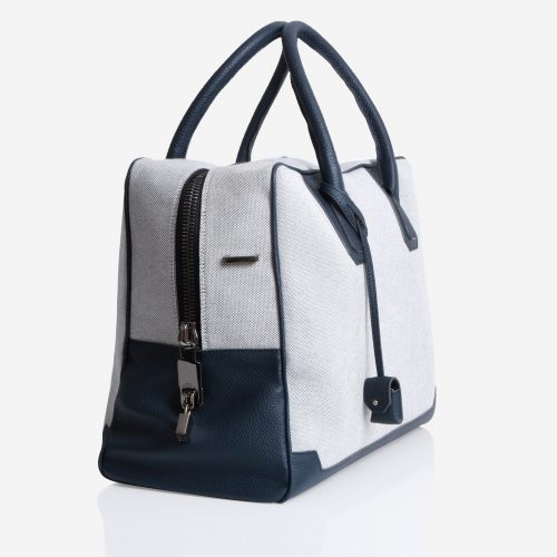 Donibane Bag 24h in Canvas & Taurillon Navy Blue