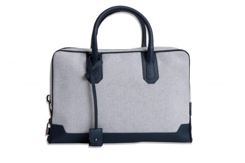 Slim Briefcase [Brif-kase] – Canvas & Taurillon Bleu Marine 1