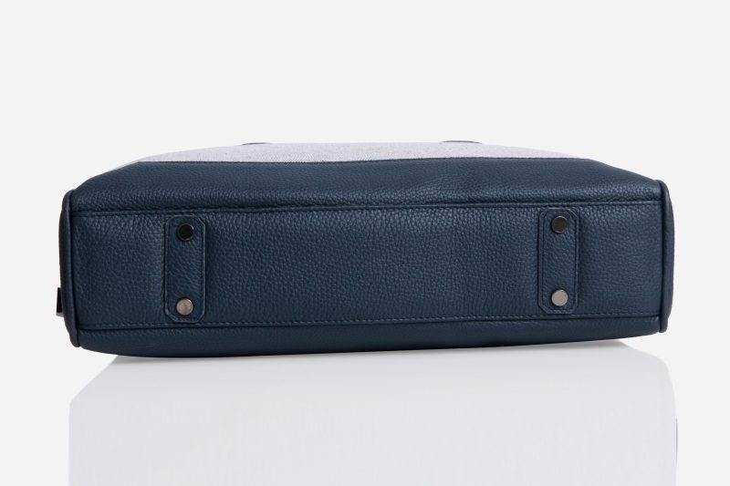Slim Briefcase [Brif-kase] – Canvas & Taurillon Bleu Marine 4