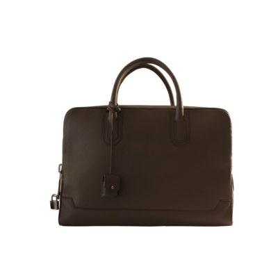 slim briefcase taurillon marron