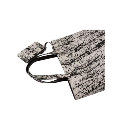 shopping bag python pollock blanc et noir