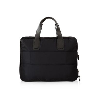 double briefcase nylon et taurillon noir