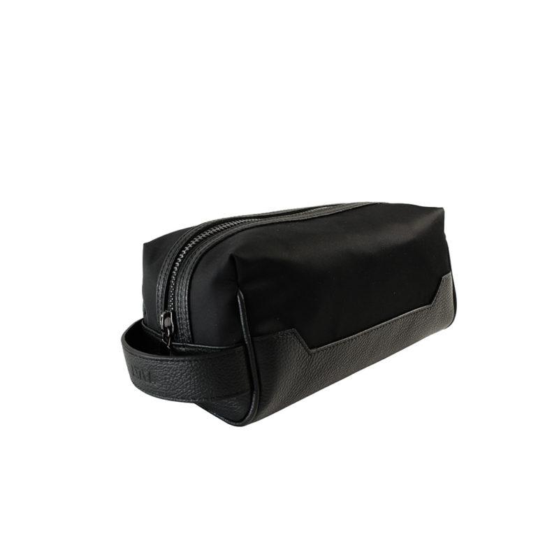 trousse de toilette nylon et taurillon noir