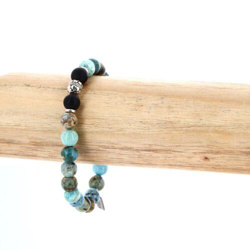 Bracelet élastique en Opale bleue 8mm